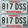 1987 Manitoba friendly pair # 817-DSS