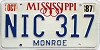 1987 Mississippi graphic # NIC-317