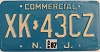1987 NEW JERSEY Commercial license plate # XK-43CZ