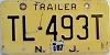 1987 NEW JERSEY Trailer license plate # TL-493T