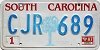 1987 SOUTH CAROLINA graphic license plate # CJR-689