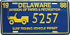 1988 Delaware Surf Fishing Vehicle Permit license plate # 5257