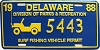 1988 Delaware Surf Fishing Vehicle Permit license plate # 5443