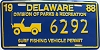1988 Delaware Surf Fishing Vehicle Permit license plate # 6292