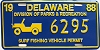1988 Delaware Surf Fishing Vehicle Permit license plate # 6295