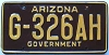 1988 ARIZONA Government license plate # G-326AH