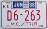 1988 British Columbia Motorcycle Dealer # D6-263