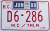 1988 British Columbia Motorcycle Dealer # D6-286