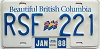 1988 British Columbia Flag graphic # RSF-221
