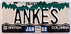 1988 British Columbia Vanity graphic # ANKES