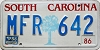 1988 SOUTH CAROLINA graphic license plate # MFR-642