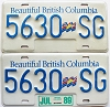 1989 British Columbia Flag graphic Truck pair # 5630-SG