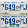 1989 British Columbia Flag graphic Truck pair # 7649-MJ