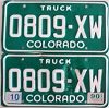 1990 Colorado Truck pair # 0809-XW, Crowley County