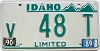 1990 IDAHO Limited license plate # v48T
