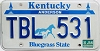 1990 KENTUCKY Churchill Downs graphic license plate # TBL-531