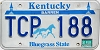 1990 KENTUCKY Churchill Downs graphic license plate # TCP-188