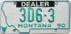 1990 Montana Dealer # 3D6-3, Yellowstone County
