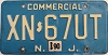 1990 NEW JERSEY Commercial license plate # XN-67UT