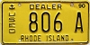 1990 RHODE ISLAND USED DEALER license plate # 806A