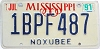 1991 Mississippi graphic # 1BPF487