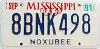 1991 MISSISSIPPI graphic license plate # 8BNK498