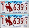 1992 Wyoming Centennial pair # 639CJ, Natrona County