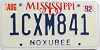 1992 Mississippi graphic # 1CXM841