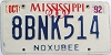 1992 Mississippi graphic # 8BNK514