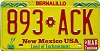 1992 NEW MEXICO license plate # 893-ACK
