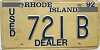 1992 Rhode Island Used Dealer # 721B