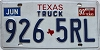 1992 TEXAS Truck license plate # 926-5RL