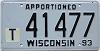 1993 Wisconsin Apportioned # 41477