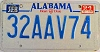 1994 Alabama license plate # 32AAV74