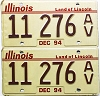 1994 Illinois Antique Vehicle pair # 11 276