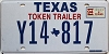 1994 TEXAS TOKEN TRAILER license plate # Y14-817