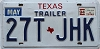 1994 TEXAS Trailer license plate # 27T-JHK