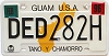 1996 GUAM graphic license plate # DED 282H