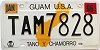 1996 GUAM graphic license plate # TAM7828