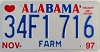 1997 ALABAMA FARM graphic license plate # 34F1716