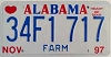 1997 ALABAMA FARM graphic license plate # 34F1717