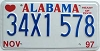 1997 ALABAMA graphic license plate # 34X1578