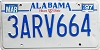 1997 ALABAMA license plate # 3ARV664