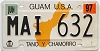 1997 GUAM graphic license plate # MAI632