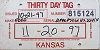 1997 Kansas Temporary Tag # 815124