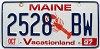 1997 MAINE Lobster graphic license plate # 2528 BW