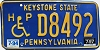 1997 PENNSYLVANIA Disabled license plate # D8482
