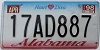 1998 ALABAMA Heart of Dixie graphic license plate # 17AD887