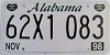 1998 ALABAMA graphic license plate # 62X1083