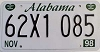 1998 ALABAMA graphic license plate # 62X1085
